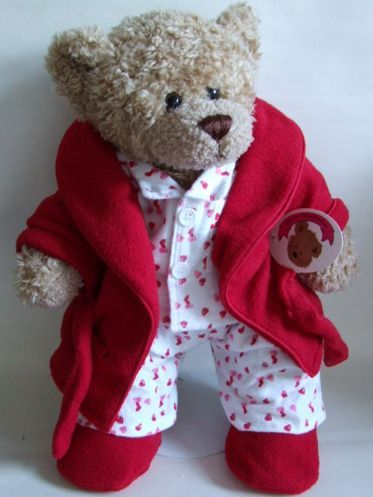 Teddy Bear Clothes Red/Pink PJ'S Red Robs & Slippers - perfect for Thomas, Bear Bus Driver.