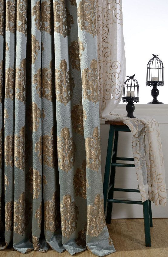 Curtains Ideas blue and gold curtains : 17 Best ideas about Damask Curtains on Pinterest | Damask bedroom ...