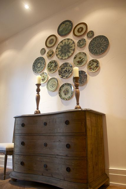 fabulous plate wall! With mothers bowls and plates?