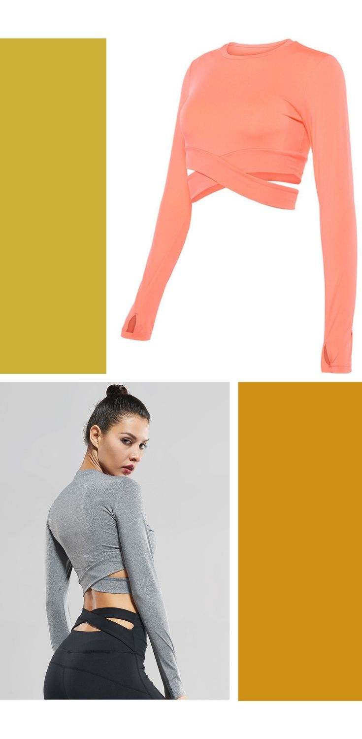 fc5c0098b9b Sexy Exposed navel Yoga T-shirts Women Long Sleeve Running Tees Quick Dry Fitness  Gym Crop Tops Vansydical Solid Sports Shirts #sportswearpantsyoga ...