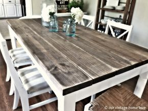 """I love this blog post, """"Dining Room Table Tutorial,"""" found on """"Our Vintage Home Love."""" I just might want to redo our old farmhouse table someday! :)"""