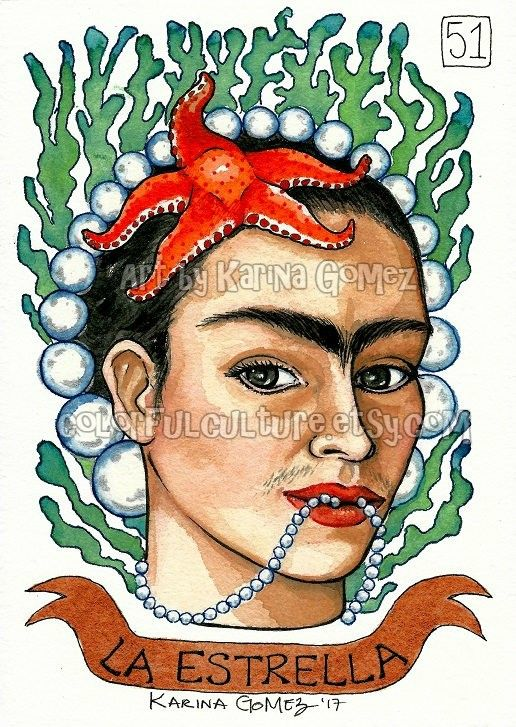 """La Estrella"" by Karina Gomez Image from Karina's Loteria Card No. 51  Prints Available. Link in our bio"