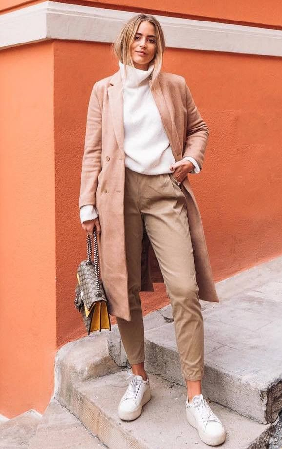 incredible fall outfit with a high neck sweater   beige coat + bag +  sneakers + pants 306e1d78cc