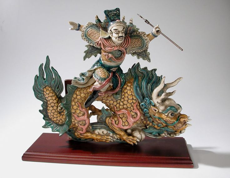 Chinese Ceramic Roof Tile Mythical Dragon with Warrior Rider Signed K Y LIN