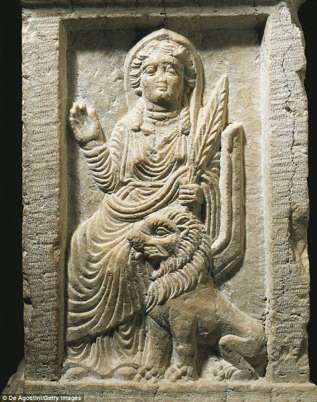A Marble altar depicting the Goddess Allat with a lion from the Temple of Baal Shamin in P...
