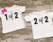 1 of 2, 2 of 2 Twin Boy/Girl Shirt Set with Bow on One Shirt