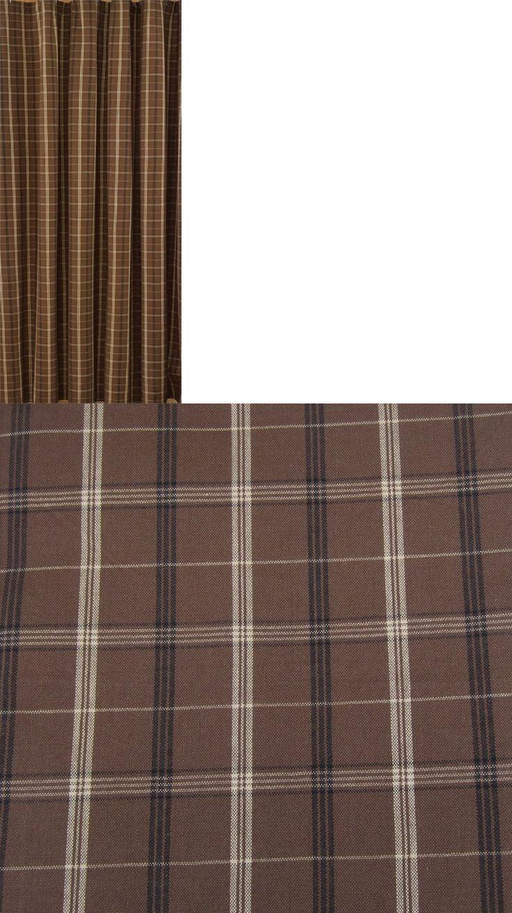 Brown plaid curtain panels - Shower Curtains 20441 Primitive Country Tanner Shower Curtain 72x72 Brown Black Tan Plaid Cotton Bath