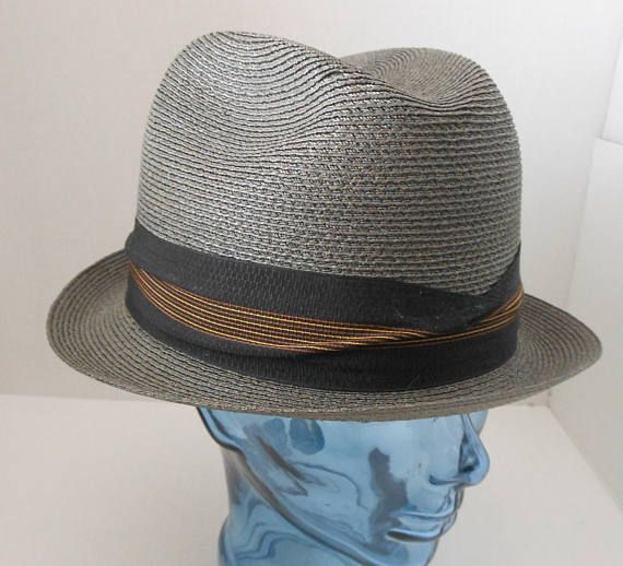 NOS Vintage 60s 70s Mens Fedora Hat, 1960s 1970s Milan Straw Gray with Black Gold and Copper Band, Made by Sears Size 7 1/4 to 7 3/8