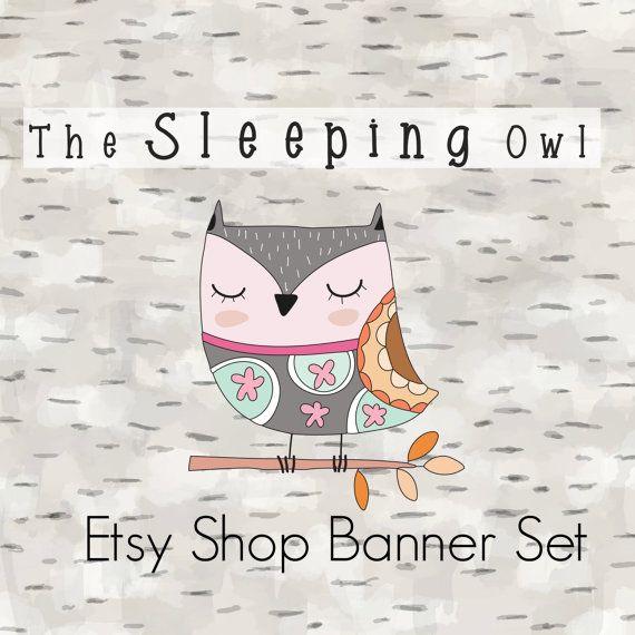 Etsy Shop Banner Set-Owl Banner by JupiterStreetDesigns on Etsy
