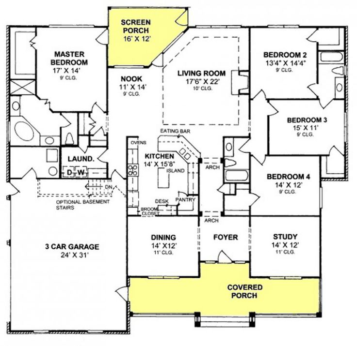 4 Bedroom House Plans floorplan preview 4 bedroom worthington house 655903 4 Bedroom 3 Bath Country Farmhouse With Split Floor Plan And Screened Porch