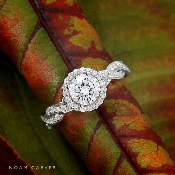Noam Carver round halo and twisted band engagement ring / http://www.deerpearlflowers.com/twisted-engagement-rings-wedding-rings/
