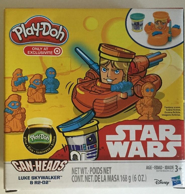 Play-Doh Star Wars Luke Skywalker and R2-D2 Can-Heads Plus Glow Compound #PlayDoh