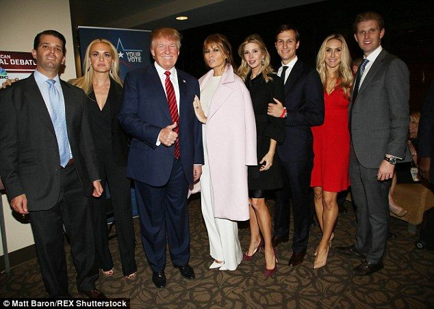Melania made a rare appearance at the Republican debate on Wednesday alongside most of the Trump family (pictured left to right: Donald Trump Jr, Vanessa Haydon, Donald Trump, Melania Trump, Ivanka Trump, Jared Kushner, Lara Yunaska and Eric Trump)
