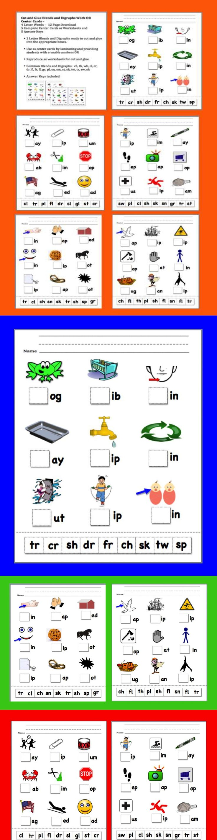 $ Blends and Digraphs Cut and Glue Blend and Digraph Work OR Center Cards –  4 Letter Words  -  12 Page Download - 5 Complete Center Cards or Worksheets and 5 Answer Keys  Review blends and digraphs with your students as they begin their new school year!  Great practice for onset rime as well...
