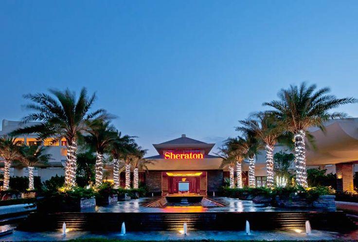 Follow Us Around the Hotels in Sanya! (16-3) Sheraton Shenzhou Peninsula Resort – Hotel Exterior at night. #sanyarepin #sanyaheartstohearts