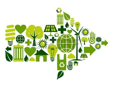 Symbol strza ki wykonane z zielonego zestaw ikon rodowiska  Zdjęcie Seryjne