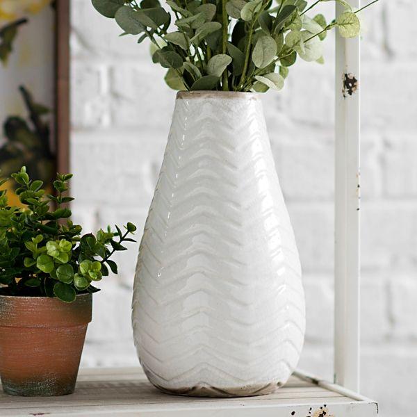 White Chevron Ceramic Vase 11 In White Vases Ceramic Vase Vase