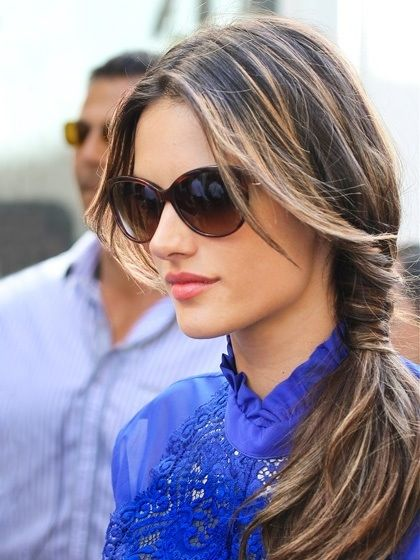 #Alessandra Ambrosio -- love the hair, and love the blouse. Such natural beauty.