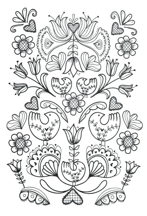 scandinavian folk art coloring book plus adult coloring