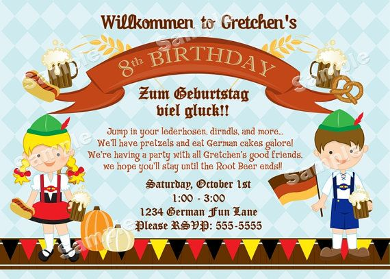 Personalized German Oktoberfest Invitation For Kids Or Family - Birthday invitation in germany