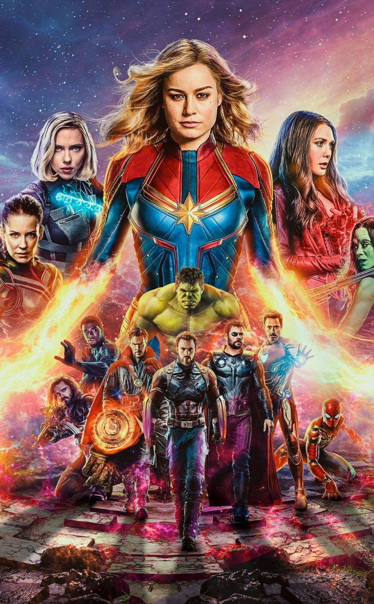Avengers End Game team with captain marvel thor thanos mobile wallpaper #movie #…