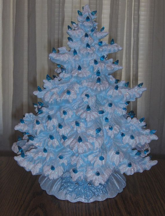 """This tree is so elegant and comes in so many colors, great accent piece.  17"""" Lighted Ceramic Christmas Tree  Blue by SandysFiredArtStudio, $89.99"""