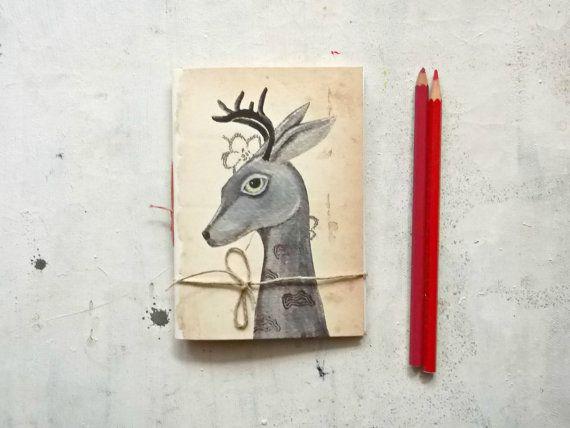 deer pocket journal blank notebook   hand  binding travel by vumap