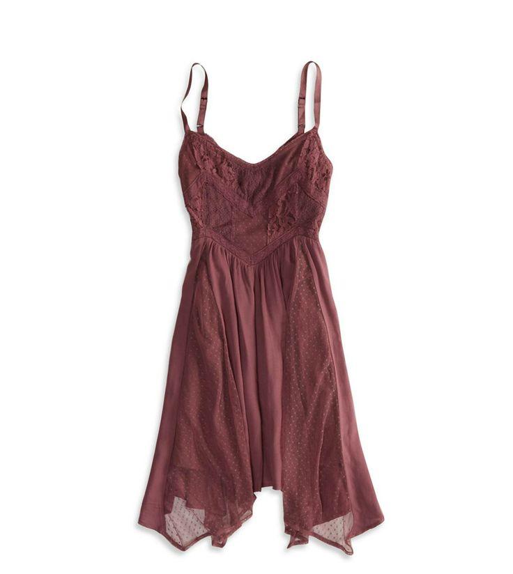 AE Lace Paneled Handkerchief Dress