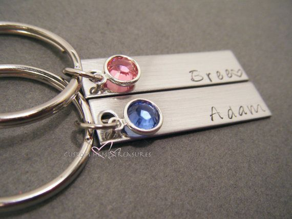 birthstone keychains for couples personalized name keychains