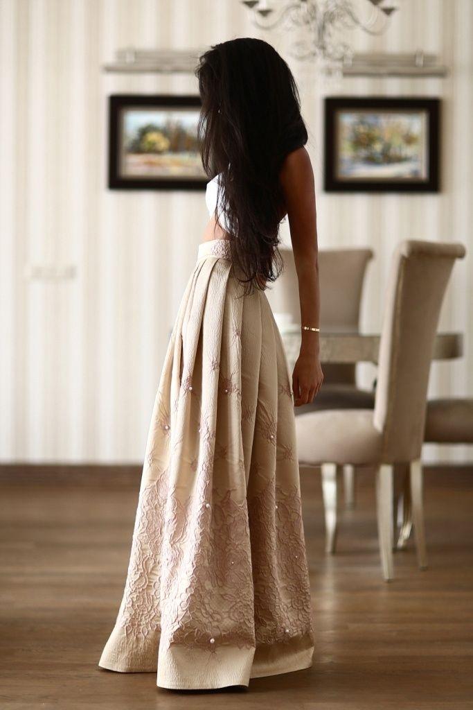Длинная юбка из итальянского жакарда