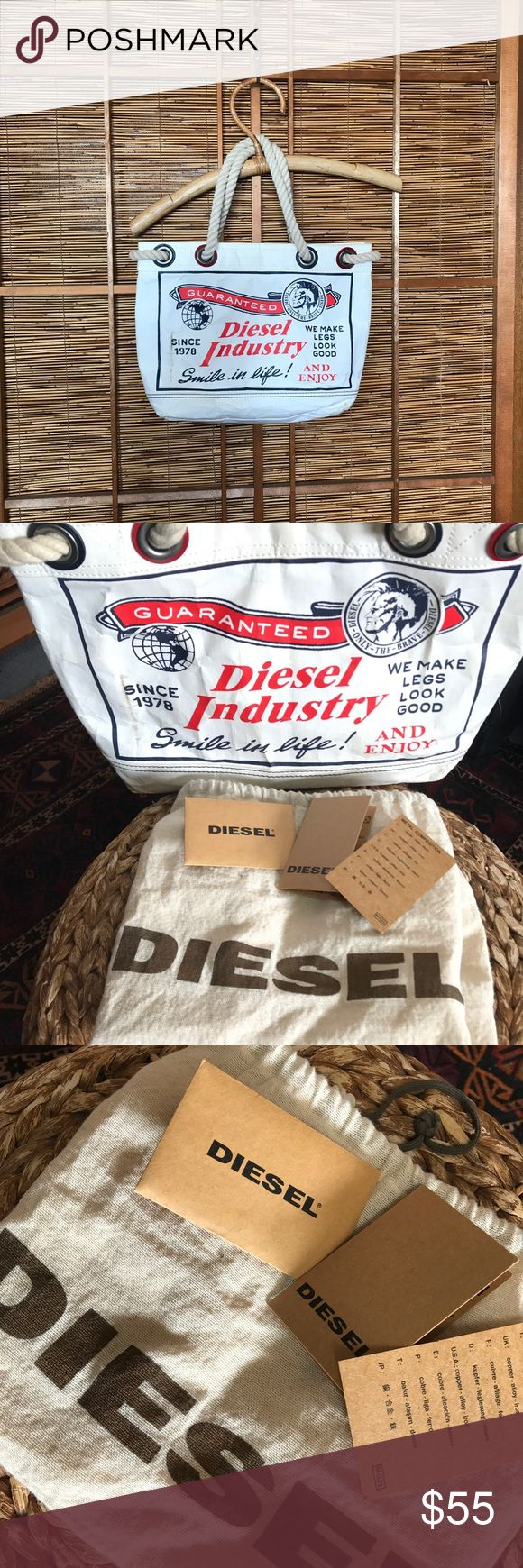 Diesel paper bag tote bag purse w dustbag Great bag by Diesel. Possibly Japan only. Made of heavy duty paper with rope handle. Not in perfect condition but at the same time it doesn't look used. There are a few marks on it. Possibly could be cleaned with magic eraser. Comes with dust bag and cardboard card( see pics) Diesel Bags Mini Bags