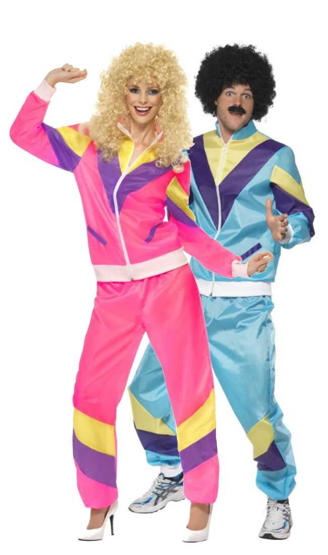 1980s men's and ladies shell suit couples fancy dress costumes. Perfect 80s party outfits