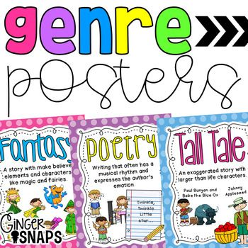 This set of 25 literature genre posters are bright and colorful and would look great in any classroom! The fiction posters all have polka dotted background whereas the non fiction posters have striped backgrounds.
