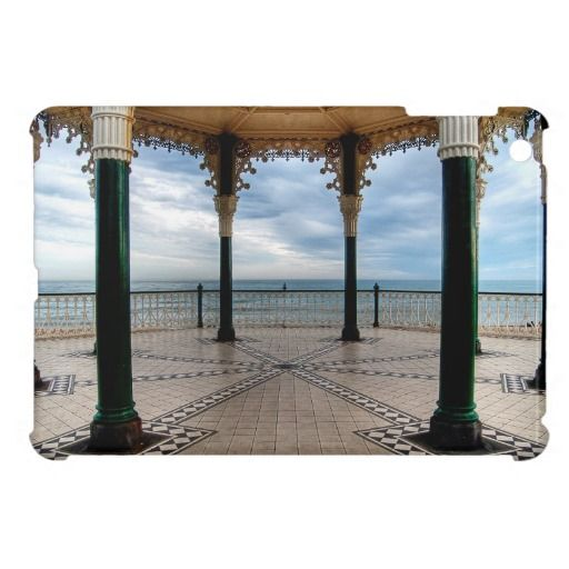 """A Stand for a Band :- A shot of the English Channel as seen from the old Victorian Bandstand on Brighton seafront, England. Recently restored the """"Birdcage"""" is regarded as one of the finest examples of a Victorian bandstand still surviving in England. Cover for the iPadMini. #iPadMini #victorian #bandstand #architecture #seafront #coastal #brighton #england #iron #metal #ornate #grand"""