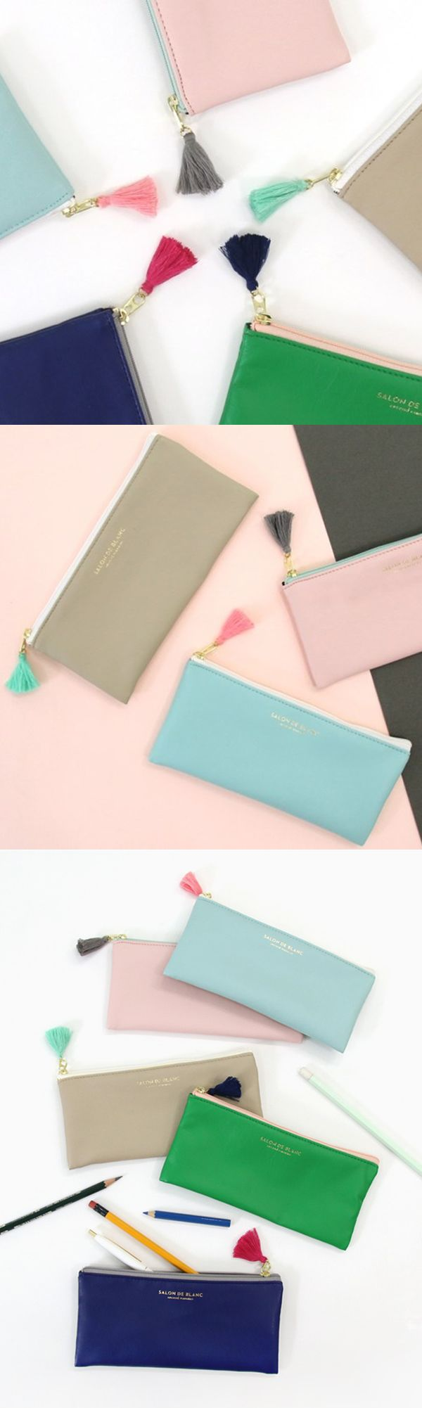 When fancy, practical and cute meet, you get the beautiful Salon De Blanc Tassel Pen Case! Meet the pen case that acts as a make up and phone holder too! There are 5 fashionable and vogue colors, and have beautifully contrasting inside lining colors. Each pen case comes with a different colored tassel, and it can hold up to 15 pens! What's the wait? Check it out now!