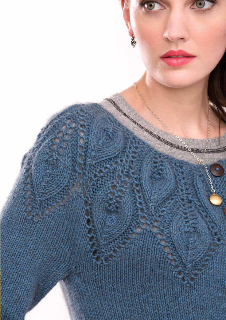 LEAF YOKE CARDIGAN - Designed by Ashley Rao, as featured in the Zealana RIMU DK Pattern Book.