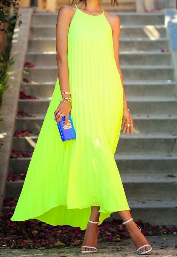 Neon Green Spaghetti Strap Pleated Maxi Dress