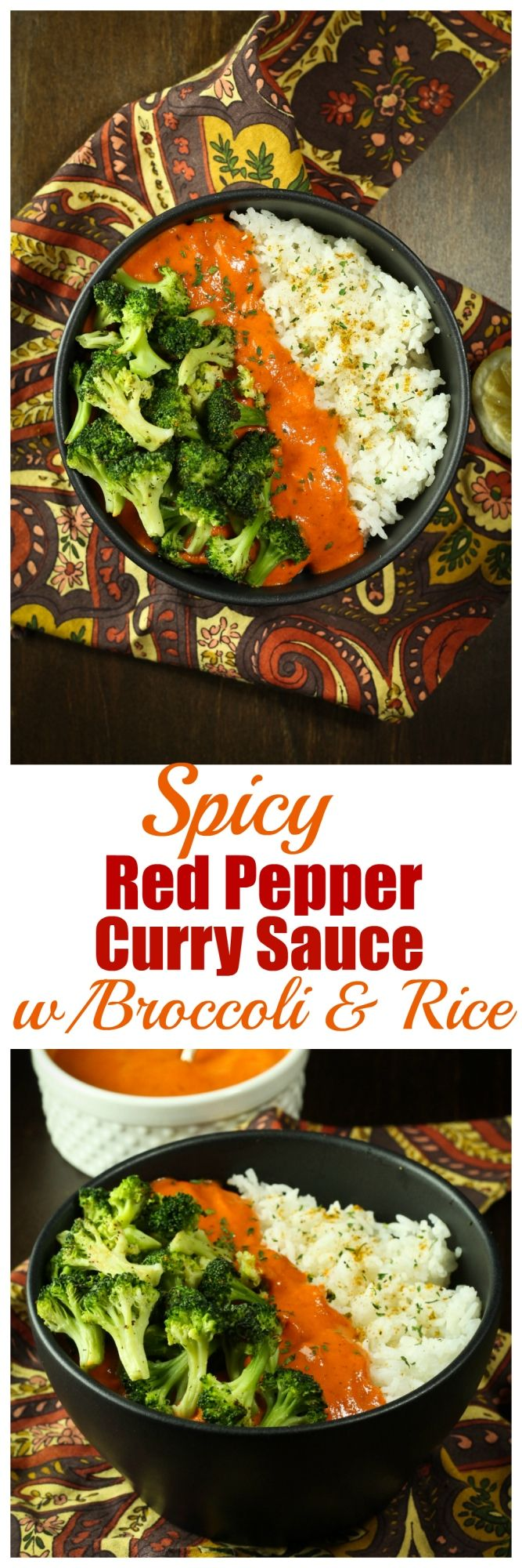 A Spicy Red Pepper Curry Sauce made with roasted red bell peppers and served over fluffy white rice and roasted broccoli. So incredibly comforting and completely dairy-free and oil-free.