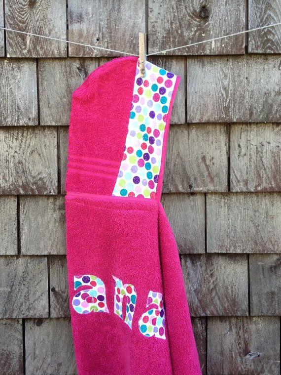 Girls Personalized Hooded Towel Raspbery Pink with polkadots Beach Pool Bath Towel Kids Children Gift Birthday Christmas