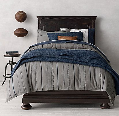 Vintage Baseball Stripe Bedding Collection Restoration