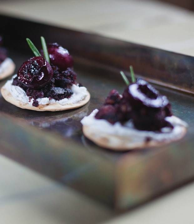 Cherry & Black Pudding Canapes