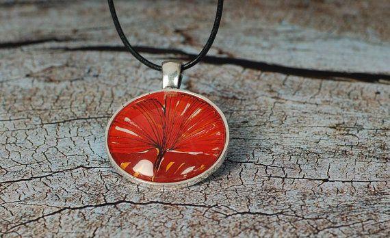 Art Pendant - Ginko Pendant - Art Jewelry - Art Necklace -Red Leaf Pendant - Glass Medallion - handmade by Evartstudio