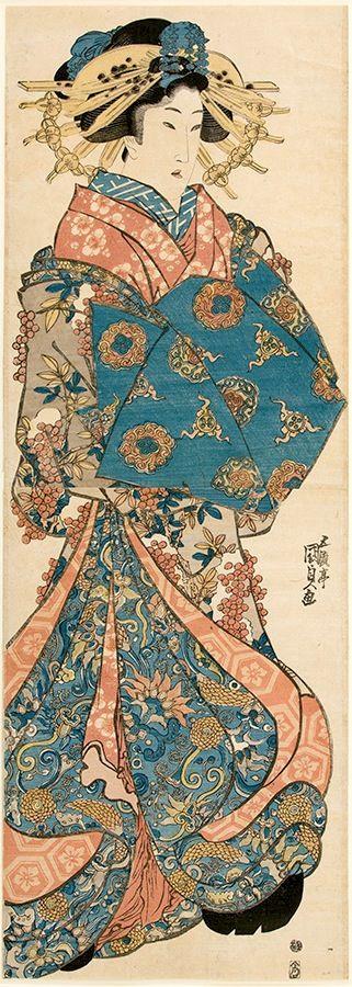 """""""Woman with Nanten Berries"""" (c1839). Utagawa Kunisada/ Toyokuni III (1786-1865). Kakemon-e, japanese woodblock prints, ukiyo-e art"""