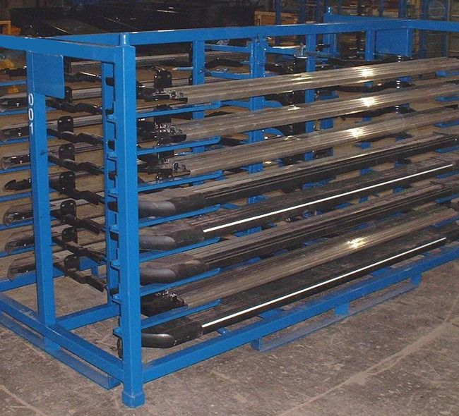 ITEM # 166 – RUNNING BOARD SHIPPING RACKS SKU: R2GW-01. Category: New Bins / Baskets.  esigned to be used for returnable shipping of running boards from Tier 1 to OEM. Please contact to have your requirements met.