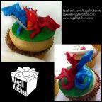 DOTA Cupcake_Defense Against the Ancients_Gaming Cupcake_Gamers_Geeky Cupcake_Geek Cake_Jakiro Twin Head Dragon Cupcake