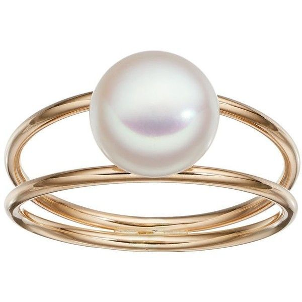 Freshwater by Honora 10k Gold Freshwater Cultured Pearl Ring ($130) ❤ liked on Polyvore featuring jewelry, rings, white, white ring, fresh water pearl jewelry, freshwater pearl jewelry, white gold jewelry and fresh water pearl ring