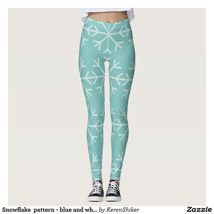 Snowflake  pattern - blue and white. leggings - Printed #Yoga #Leggings & Running Tights Creative Workout and #Gym #Fashion Designs From International Artists - #pilates #exercise #crossfit #workout #tights #running #sports #design #fashiondesign #designer #fashiondesigner #style #pants