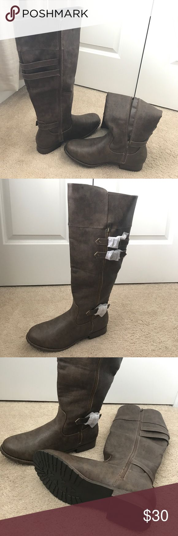 Selling this JustFab Knee High Boots Wide Calf Brown Leather 10 on Poshmark! My username is: agraefy. #shopmycloset #poshmark #fashion #shopping #style #forsale #JustFab #Shoes