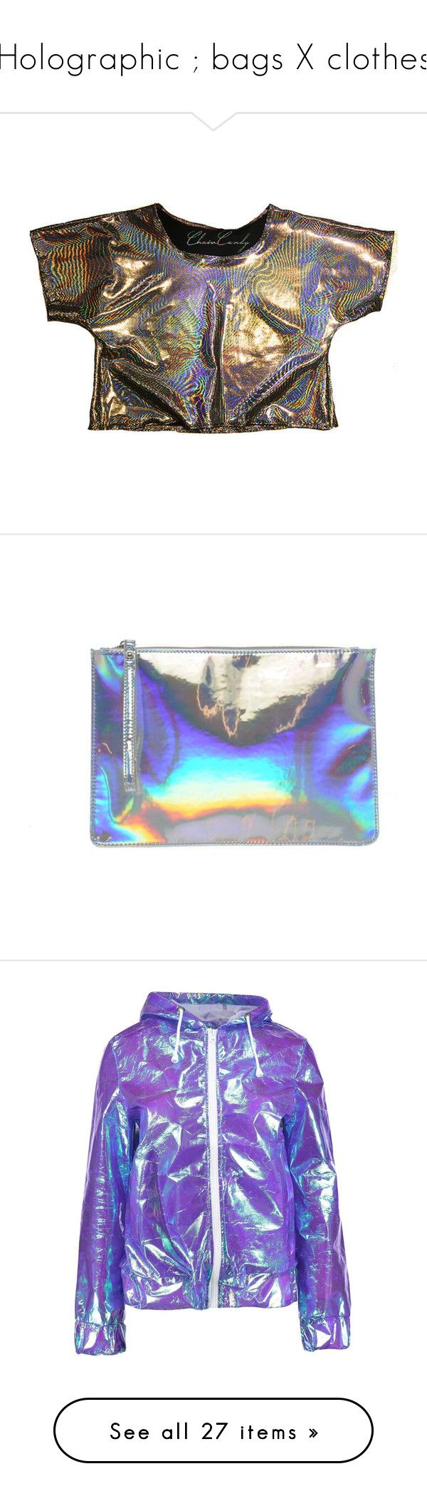 """Holographic ; bags X clothes"" by pinksemia ❤ liked on Polyvore featuring tops, t-shirts, crop top, relaxed tee, holographic top, cropped tops, relaxed fit tee, holographic t shirt, bags and handbags"