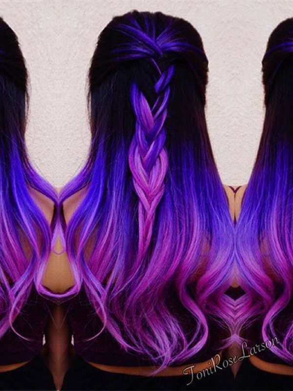 Dark hair with purple ombre hair color dies, amazing wearing effect of extensions~